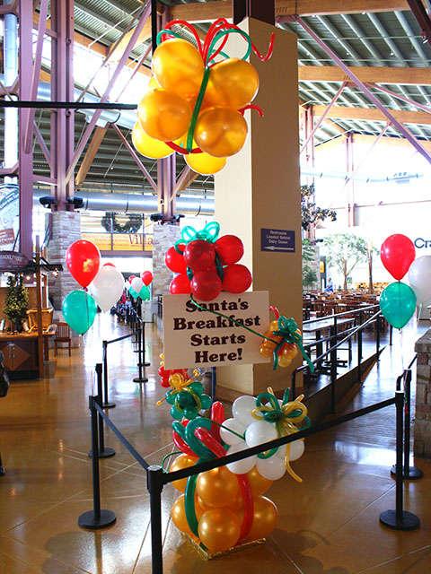 santa balloon presents & signage